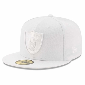 Raiders New Era 59Fifty White Tonal Fitted Cap - Click to enlarge