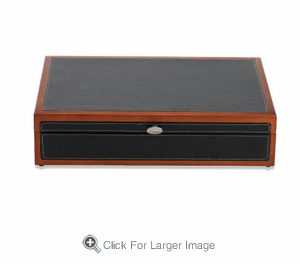 Adams Black Faux Leather with Cherry Trim Flatware Chest - Click to enlarge