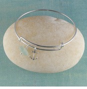 Anchor Seaglass Bangle Bracelet