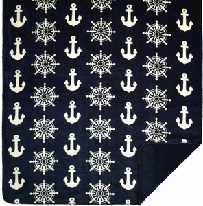 Anchors & Wheels Microplush Throw - Click to enlarge
