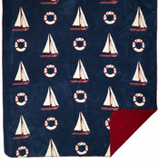 Atlantic Blue Sailboats Microplush Throw