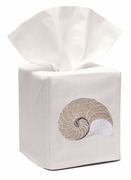 Beige Striped Nautilus Tissue Box Cover