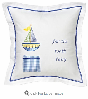 Blue Cross Stitch Sailboat Tooth Fairy Pillow - Click to enlarge