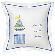 Blue Cross Stitch Sailboat Tooth Fairy Pillow