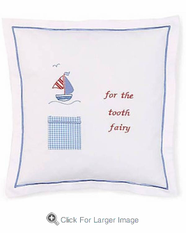 Blue Sailboat Tooth Fairy Pillow - Click to enlarge