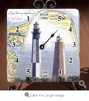 Cape Henry Map &  Lighthouse Tide Clock - Click to enlarge