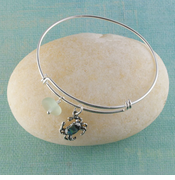 Crab Seaglass Bangle Bracelet