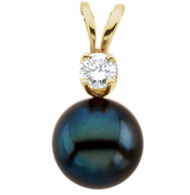 Cultured Black Pearl & Diamond Pendant