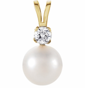 Cultured Pearl & Diamond Pendant