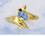 Dolphin Bypass Ring <BR > with Blue Topaz