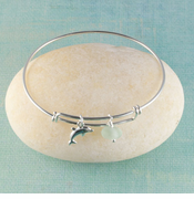 Dolphin Seaglass Bangle Bracelet