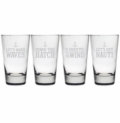 Down The Hatch Hiball Heavy Base Glasses