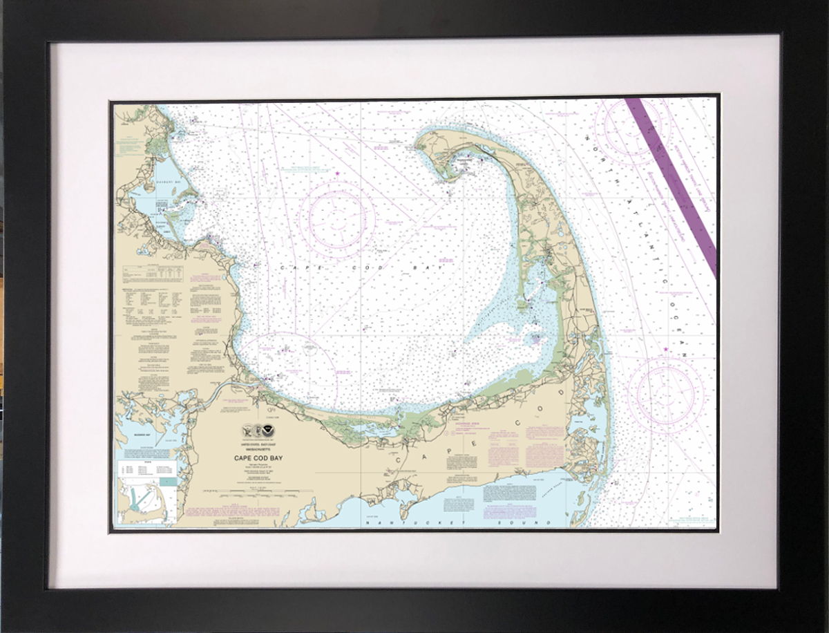 Framed Cape Cod Bay Nautical Chart Ocean Offerings