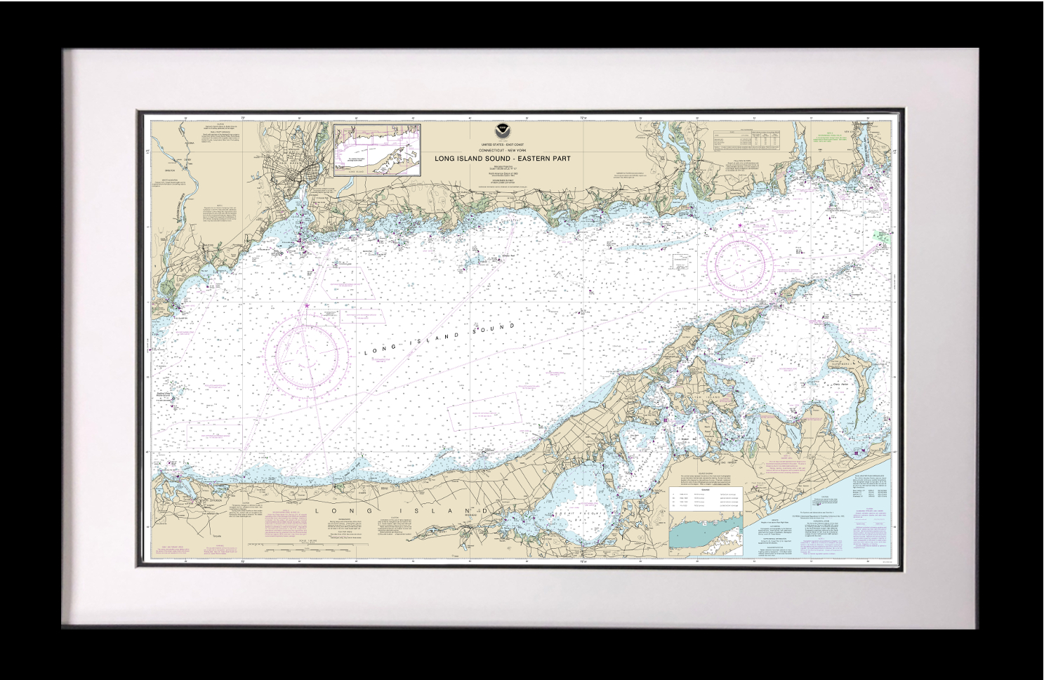 Framed Long Island Nautical Chart on map of eastern rhode island, map of boston sound, map of washington sound, map of rhode island sound,