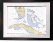 Framed Straits of Florida Historical Nautical Chart