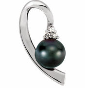 Free Form Akoya Black Pearl & Diamond Pendant