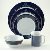 Blue Compass Melamine Dinnerware Set
