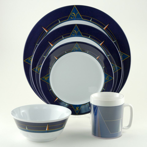 Blue Compass Melamine Dinnerware Set - Click to enlarge