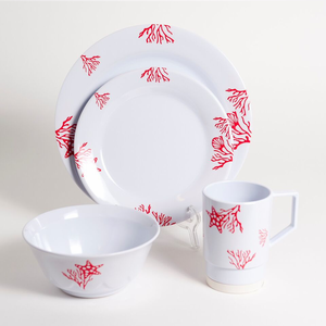 Coral Melamine Dinnerware Set - Click to enlarge