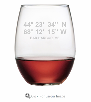 Latitude Longitude Stemless Wine Glasses - Click to enlarge