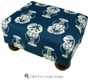 Lobster Navy Footstool - Click to enlarge