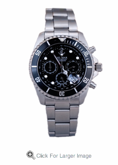 Men's Black Anchor Dial Chronograph Watch - Click to enlarge