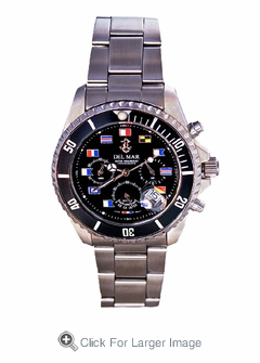 Men's Black Dial Nautical Flag Chronograph Watch - Click to enlarge
