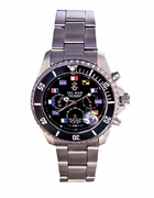 Men's Black Dial Nautical Flag Chronograph Watch