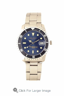 Men's Classic Blue Dial Stainless Steel Watch - Click to enlarge