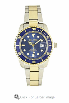 Men's Two Tone Blue Dial Sport Watch - Click to enlarge