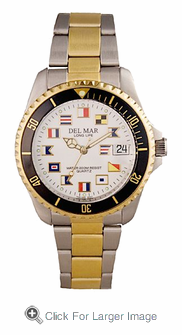 Men's Two Tone Classic Nautical Flag Watch - Click to enlarge