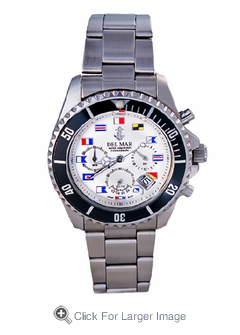 Men's White Dial Nautical Flag Chronograph Watch - Click to enlarge