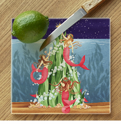 Mermaids Under The Sea Tree Glass Cutting Board