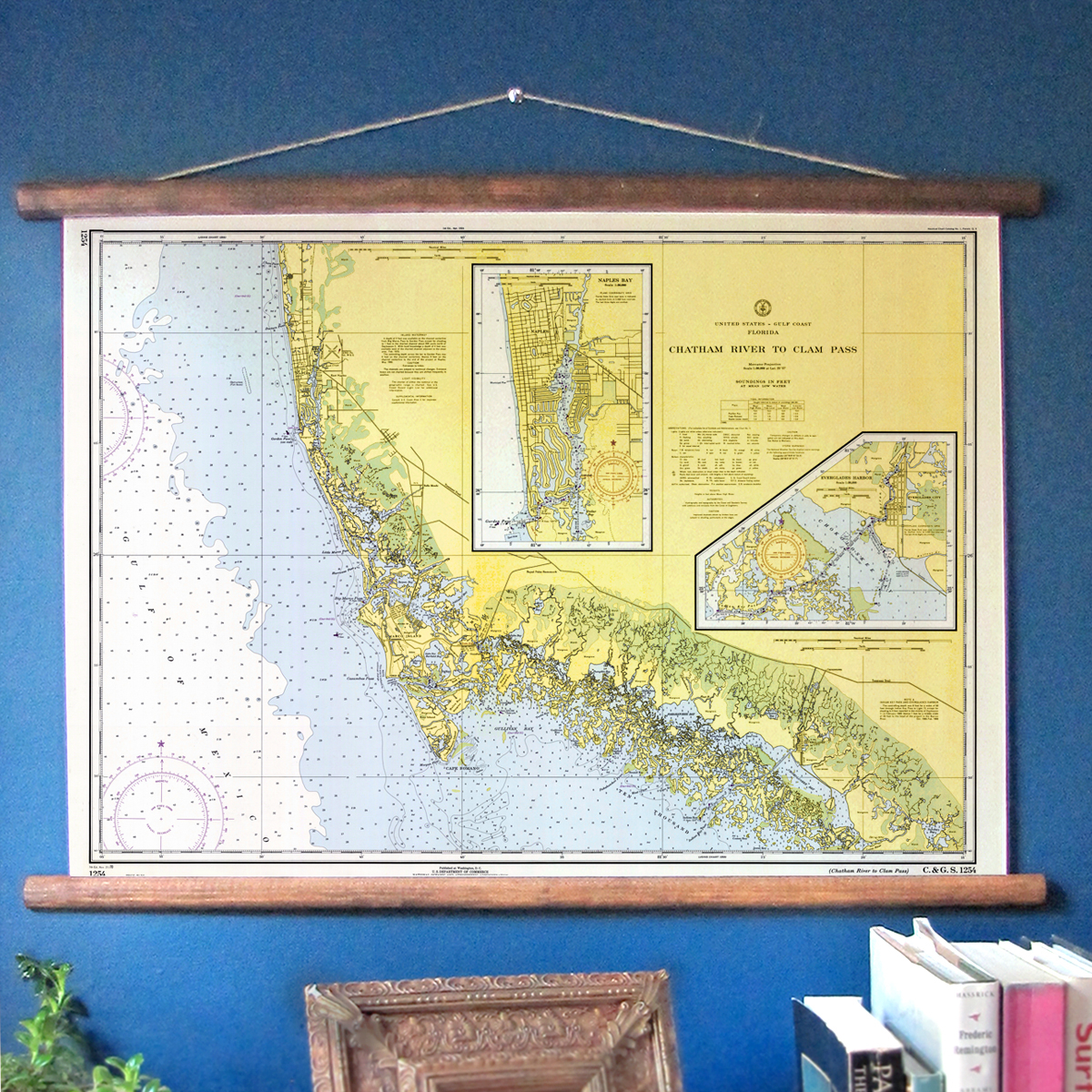 Naples Marco Island Fl 1970 Nautical Chart Wall Scroll