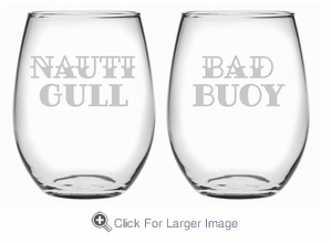 Nauti Gull & Bad Buoy Stemless Wine Glasses - Click to enlarge