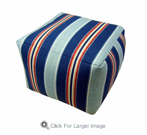 Nautical Stripe Square Pouf - Click to enlarge