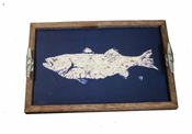 Navy and White Fish Driftwood Tray