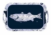 Navy & White Gyotaku Fish Melamine Tray