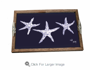 Navy & White Starfish Driftwood Tray - Click to enlarge