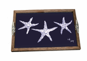 Navy & White Starfish Driftwood Tray