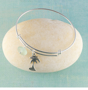 Palm Tree Seaglass Bangle Bracelet