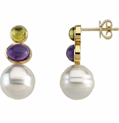 Pearl, Peridot & Genuine Amethyst Earrings
