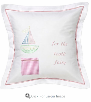 Pink Cross Stitch Sailboat Tooth Fairy Pillow - Click to enlarge