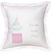 Pink Cross Stitch Sailboat Tooth Fairy Pillow