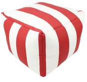 Red Cabana Pouf