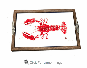 Gyotaku Red Lobster Driftwood Tray - Click to enlarge