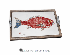 Gyotaku Red Snapper Driftwood Tray - Click to enlarge