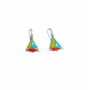Sailboat Sea Glass Earrings - orange