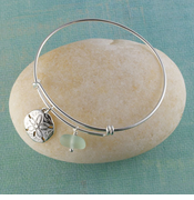 Sand Dollar Seaglass Bangle Bracelet