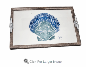 Gyotaku Scallop Shell Driftwood Tray - Click to enlarge